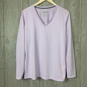 Nike L Lavender V-Neck Long Sleeve Dri Fit T-Shirt